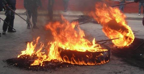 tyre burning