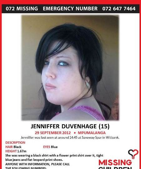 Missing chiuld Jenniffer Duvenhage